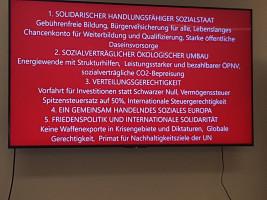 Auch die Programme der Kandidaten wurden kurz vorgestellt, hier das von Ralf Stegner und Gesine Schwan.