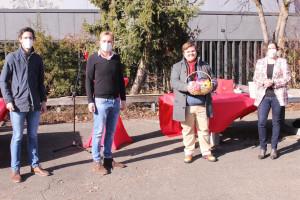 Jan Plobner (3.v.l) gratulierten der SPD-Kreisvorsitzende Sven Ehrhardt, der Vorsitzende der Bundeswahlkreisorganisation Marcel Schneider und die SPD-Kreisvorsitzende Nürnberger Land, Martina Baumann. (v.l.n.r.)