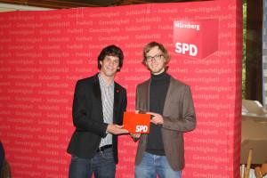 Sven Ehrhardt, Kreisvorsitzender, und Sascha Wächtler, Unterbezirksvorsitzender des SPD-Unterbezirks Ansbach.