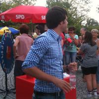 kurze Verschnauf- und Trinkpause unseres Landtagskandidaten Sven Ehrhardt