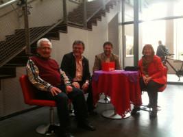 Kleiner Plausch vor Beginn der Veranstaltung: Hermann Krämer, Erwin Dürr und Irma Ittner