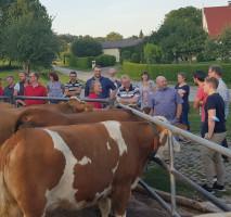 SPD-Kreisvorstandsmitglieder unterhalten sich mit Landwirt Dorner (5. v.r.)