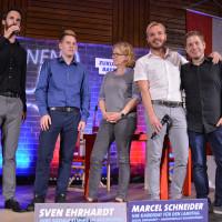v.l. Sven Ehrhardt, Maximilian Lindner, Natascha Kohnen, Marcel Schneider, Kevin Kühnert