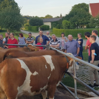 Der SPD-Kreisvorstand und die Kreisgruppe des LBV informierten sich über die Probleme der Landwirtschaft bei Familie Dorner in Eysölden und diskutierten angeregt mit Manfred Dorner (Mitte mit hellgrauem Hemd) und dem Vertreter des Bayerischen Bauernverban